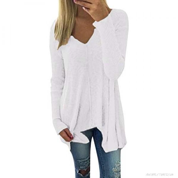 ZANZEA Womens Knit Tunic Tops Blouse Henley V Neck Pullover Sweater Loose Plain Shirts